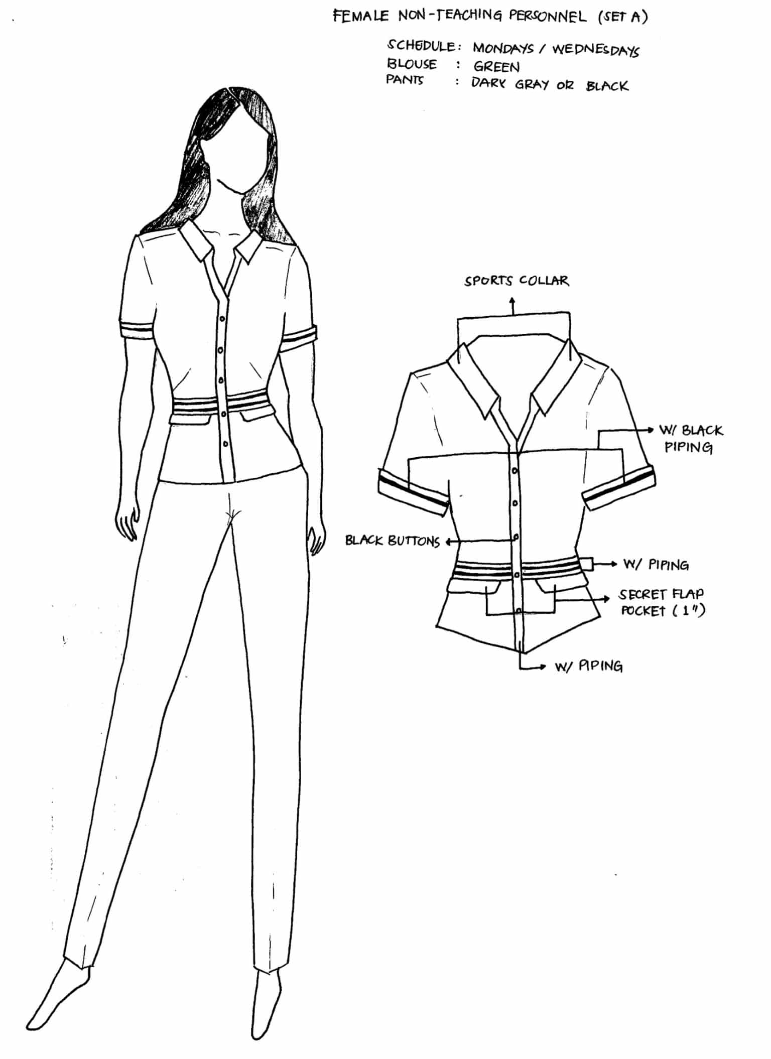 DepEd National Uniforms Female Non-Teaching Personnel (SET A)