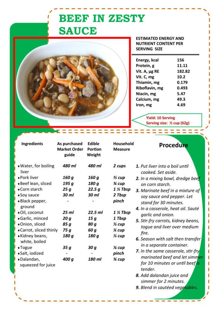 Masustansyang Pagkain Beef In Zesty Sauce Recipe