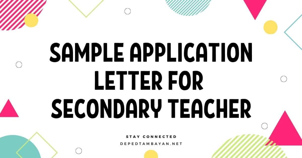 Sample Application Letter for Secondary Teacher